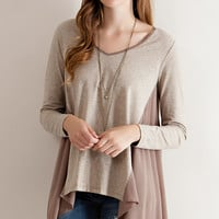 Mixed Long Sleeve Drape Top - Taupe