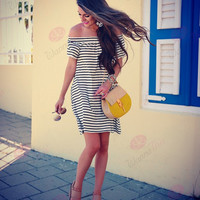 Casual Loose Strapless Stripe Dress 11882