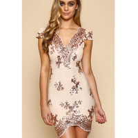 Fashion v-neck hollow-out cultivate one's morality short sleeve sequined golden dress