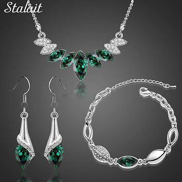 bracelet necklace earrings Wedding Bridal party  Silver Color Austrian Crystal water drop Pendant Jewelry Sets