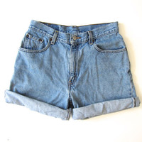 Vintage LEVIS jean shorts 90s DISTRESSED denim shorts Worn In Faded Grunge Shorts Womens Relaxed Fit Levis Mom Shorts Roll Up Shorts Medium