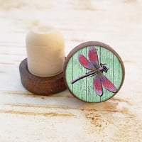 Pink Dragonfly Wine Stopper, Bottle Stopper, Dark Wood T-Top, Wedding Favors, Housewarming Gift, Wood Top Cork Stopper, Gift For Her