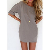 Casual Scoop Collar Half Sleeve Solid Color Loose-Fitting Women's Dress