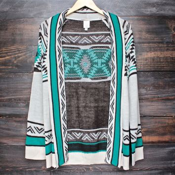 Mod Lightweight Tribal Cardigan Aztec in Jade