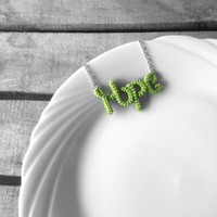 Hope Necklace, Word Pendant Necklace, Inspirational Personalized Necklace, Crochet Wrap Jewelry, Friendship Necklace