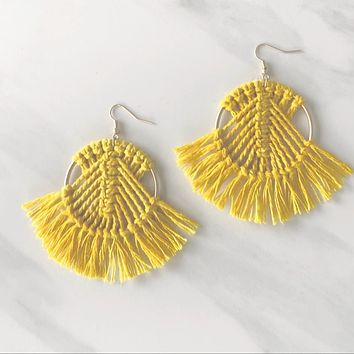 Dream Catcher Fringe Tassel Earring in Yellow