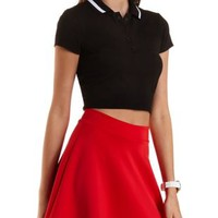 Striped-Collar Polo Crop Top by Charlotte Russe