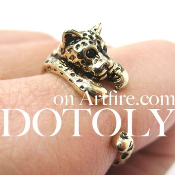 Leopard Jaguar Animal Wrap Around Ring in Shiny Gold - Sizes 4 to 9 Available