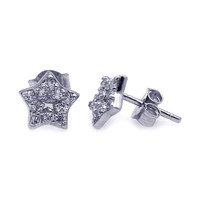 Sterling Silver Rhodium Plated Stud Earrings