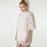 3/4 Sleeve Cut Out Lace Dress