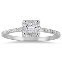 1/2  Carat Princess Cut Diamond Engagement Ring in 14K White Gold