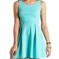Textured Back Cut-Out Pleated Dress by Charlotte Russe - Mint