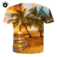 Palm Tree T Shirt Men 3D Beach Sunset Landscape T-shirts Summer Harajuku Coconut Tee Tops Unisex Short Sleeve Clothes Dropshipp