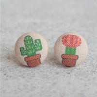 Cactus Fabric Covered Button Earrings