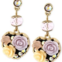 Betsey Johnson Antique Gold-Tone Flower Heart Drop Earrings