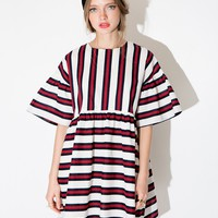Red and Navy Striped Babydoll Dress
