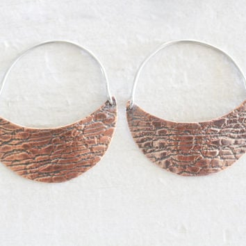 Mini Crescent Moon Hoop Earrings - Reversible Rolled Copper Crescent Moon Textured Hoops / Copper Jewelry / Copper Hoops / Spring 2016