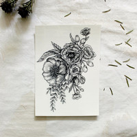 """Large Floral Temporary Tattoo Botanical Bunches Design 3.5"""" x 5"""""""