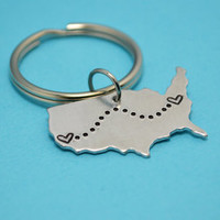 United States Keychain or Necklace - Best Friend Gift - Couples Gift - Long Distance Love