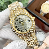 Rolex luxury full diamond men's and women's classic casual business steel band watch