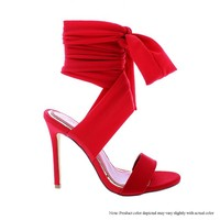 Red Sexy Tie Me Up Ankle Heel