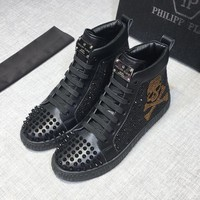 Philipp Plein Men Black Hi-Top Shiny Big Gold Skull Sneakers - Best Deal Online