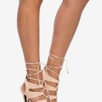 Snakeskin Lace Up Heels - Beige