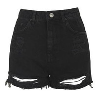 TALL MOTO Ripped Mom Shorts - Washed Black