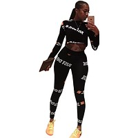 Letter Print Crop with High Waist Long Skinny Leggings Women Two Pieces Sports Set