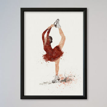 Ice Skating Poster Watercolor Print Sport Girl Figure skating illustration Art Poster Kid's Room decor Giclee Wall Decor Wall Hanging