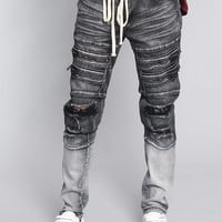 Distressed Dip Dyed Denim Jeans