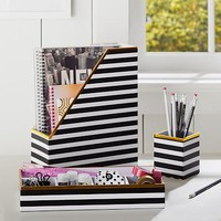 Printed Desk Accessories- Black/White Stripe With Gold Trim