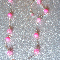 Pink Love - Neon Pink Heart and Holographic Star Charm Necklace with Matching Beaded Stretch Bracelet