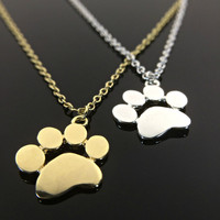 Paw Print Necklace - Sterling Silver - Gold - Cat and Dog Paws - Animal Jewelry Pet