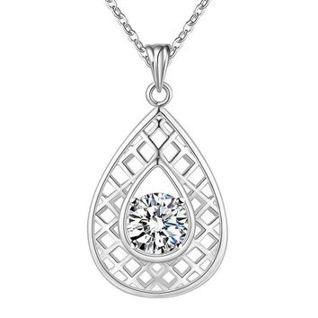 Lined Pear Drop CZ Sterling Silver Necklace