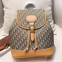 DIOR Fashion Women New More Letter Leather Shopping Leisure Backpack Bag