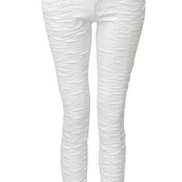 Zamia Ruched White Ankle Graze Jeans