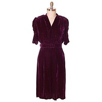 Vintage Dress Eggplant Purple Velvet Early 1940s Magicvel 44-36-42