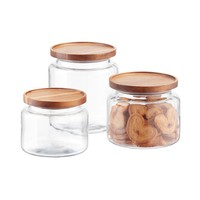 Set of Anchor Hocking Montana Glass Canisters with Acacia Lids