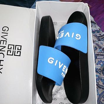 Wearwinds Givenchy Trending Classic Slippers Women Men Letters Sandals Blue