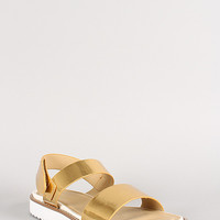 Metallic Leatherette Open Toe Flat Sandal