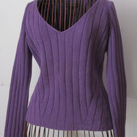Banana Republic Purple Sweater SZ S Pull Over Chunky Ribbed Sweater 100% Cotton Sweater Purple Sweater  Trending Apparel Purple Items