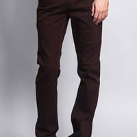 Men's Slim Fit Colored Jeans (Brown)