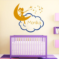 Name Wall Decal Fairy Girl on Moon Decal Personalized Name Stickers Cloud Vinyl Decals Interior Design Bedroom Princess Nursery Decor KY142
