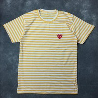 Round-neck Summer Stripes Embroidery Unisex Short Sleeve T-shirts [10016850957]