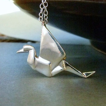 READY TO SHIP / Origami Crane Necklace In Sterling Silver