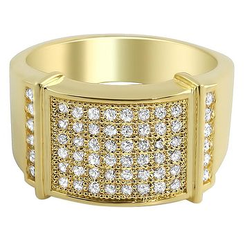 Hot CZ Mens Micro Pave Bling Bling Ring