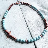 Blue Turquoise Choker Necklace 230G