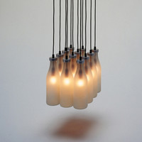 Droog Milk Bottle Lamps Chandelier by Tejo Remy