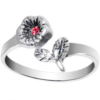 Sterling Silver 925 Pink CZ Blooming Flower Toe Ring | Body Candy Body Jewelry